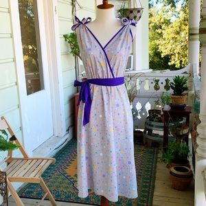 Vintage 80s Hanna of CA Polka Dot Tie Strap Dress